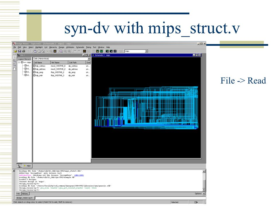 syn-dv with mips_struct.v