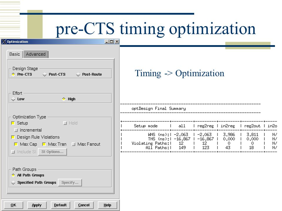pre-CTS timing optimization