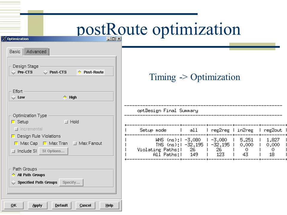 postRoute optimization