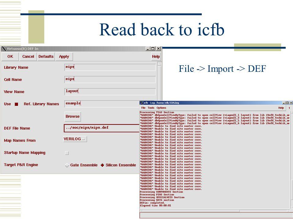 File -> Import -> DEF
