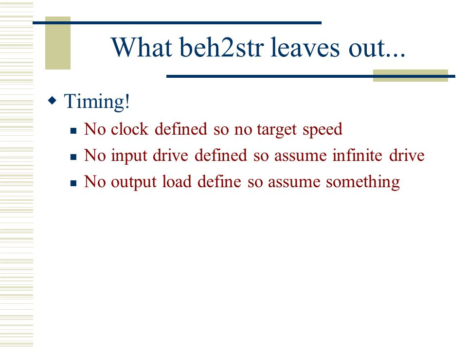 What beh2str leaves out... Timing! No clock defined so no target speed