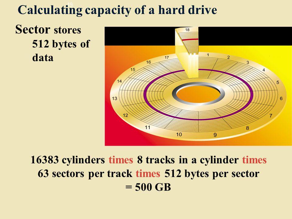 Calculating capacity of a hard drive