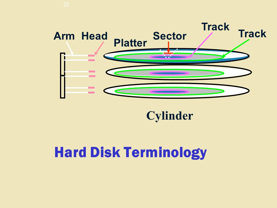 Track Track Arm Head Sector Platter Cylinder Hard Disk Terminology