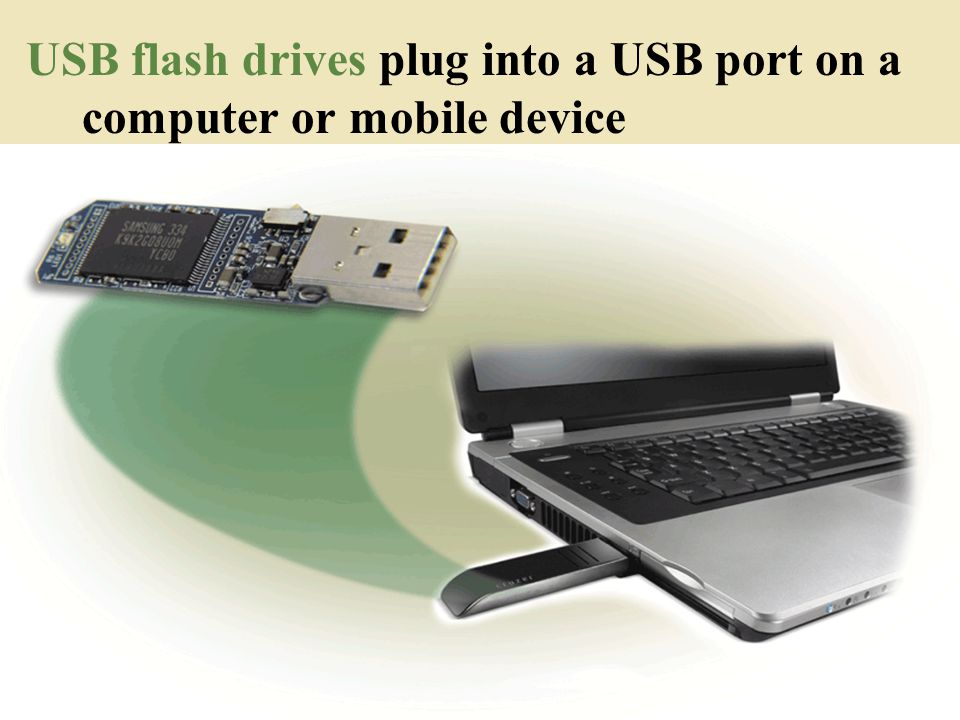 USB flash drives plug into a USB port on a computer or mobile device