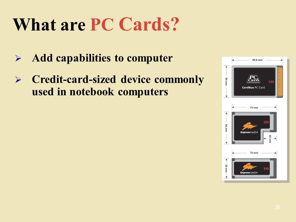 What are PC Cards Add capabilities to computer