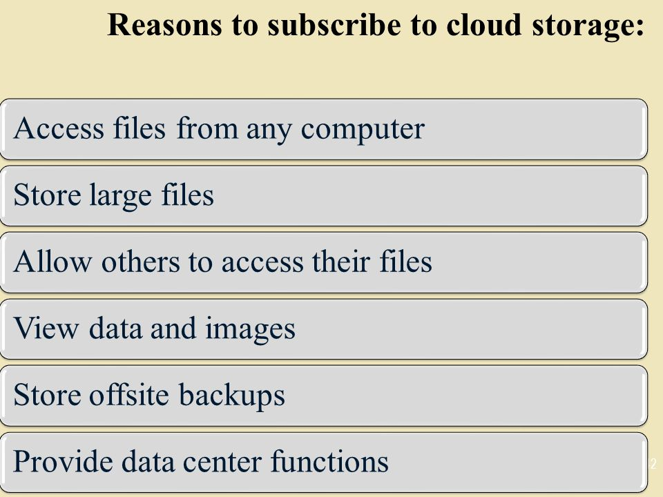 Reasons to subscribe to cloud storage:
