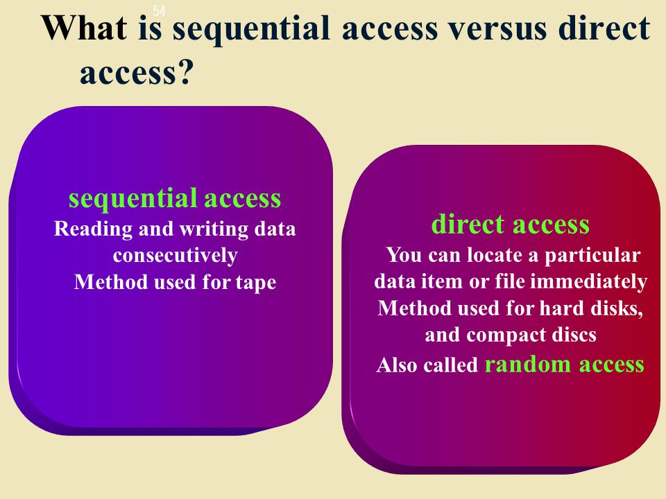 What is sequential access versus direct access