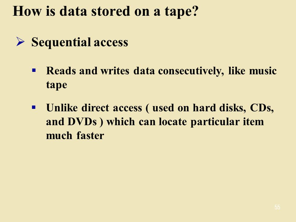 How is data stored on a tape