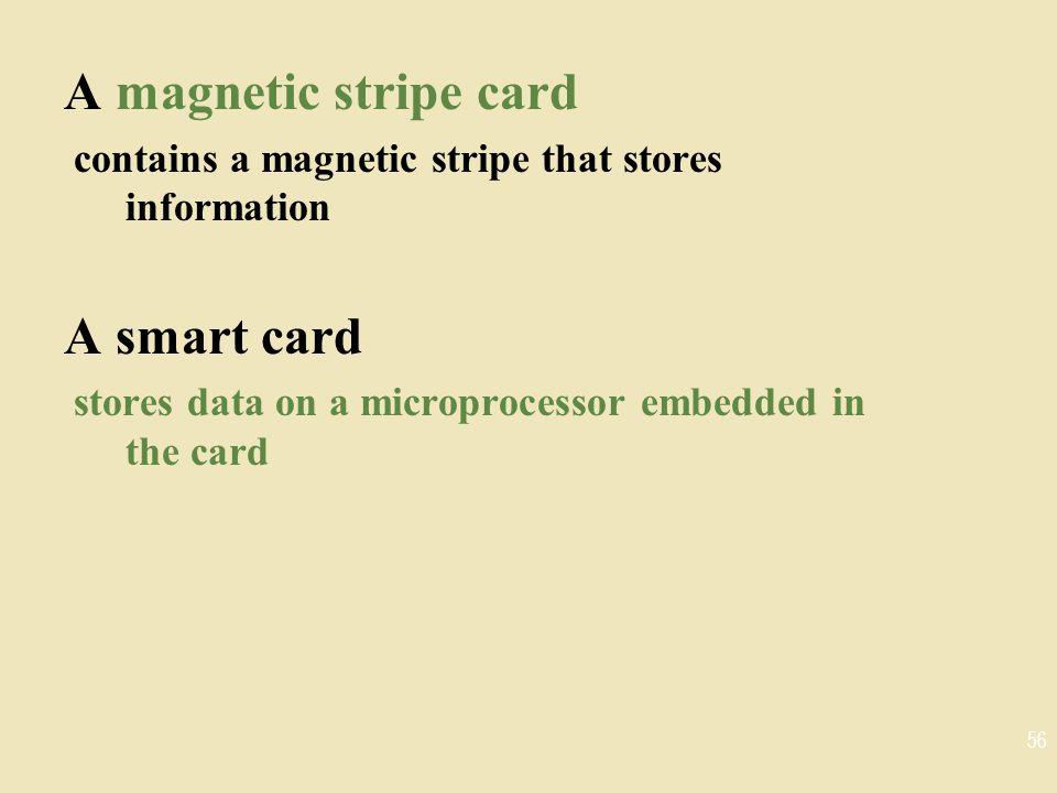 A magnetic stripe card A smart card