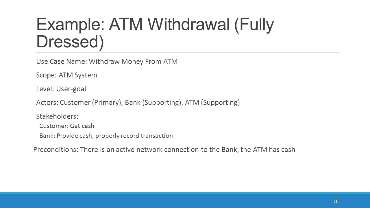 Example: ATM Withdrawal (Fully Dressed)