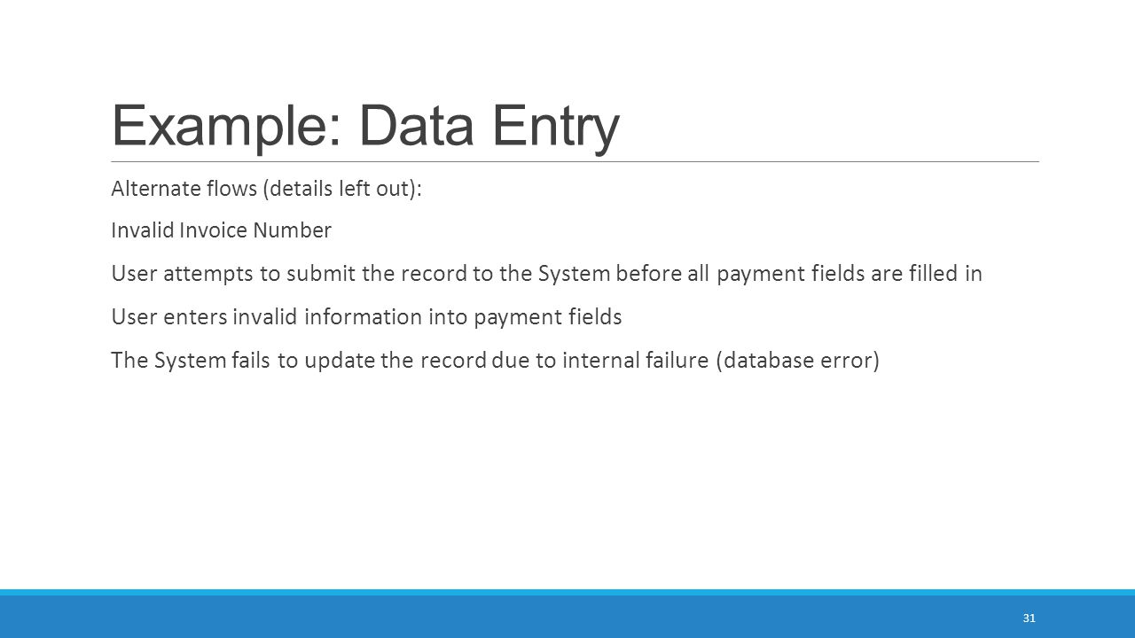 Example: Data Entry Alternate flows (details left out): Invalid Invoice Number.