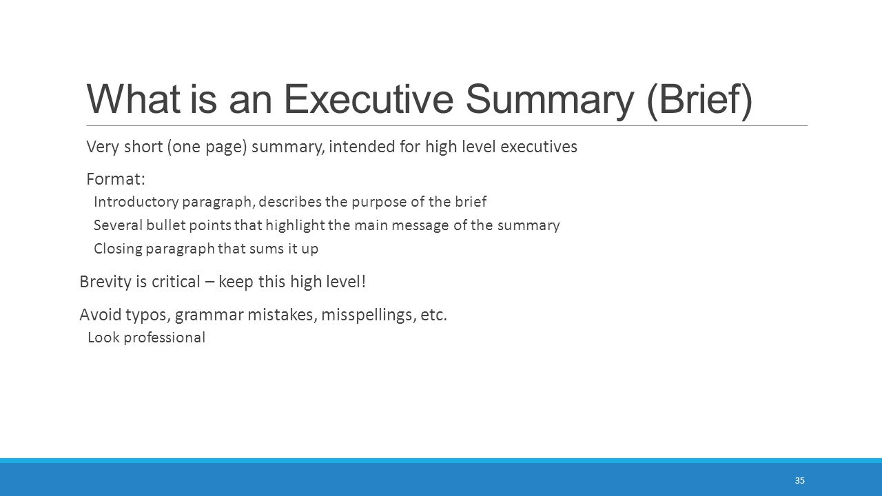 What is an Executive Summary (Brief)