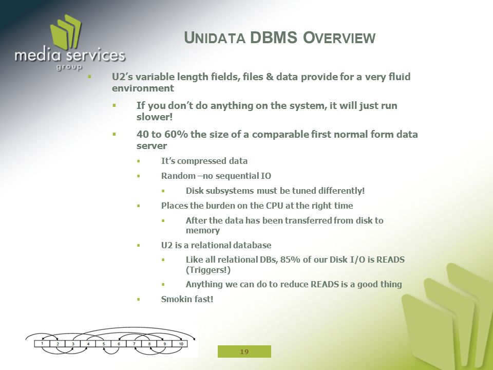 Unidata DBMS Overview U2's variable length fields, files & data provide for a very fluid environment.