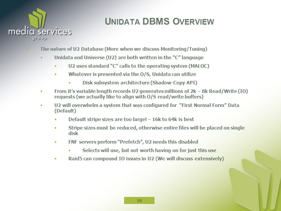 Unidata DBMS Overview The nature of U2 Database (More when we discuss Monitoring/Tuning)
