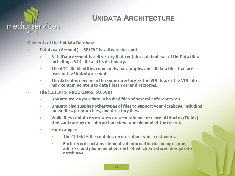 Unidata Architecture Elements of the Unidata Database