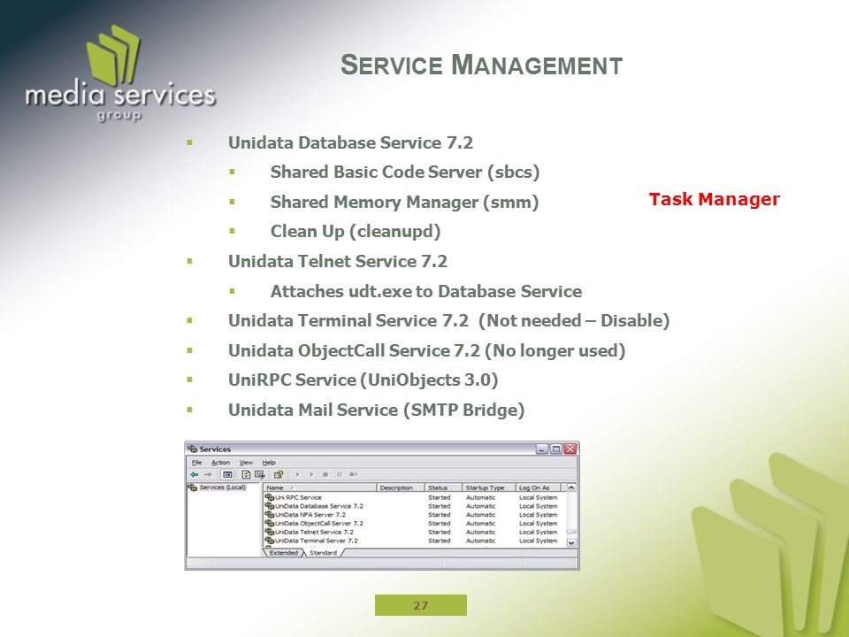 Service Management Unidata Database Service 7.2