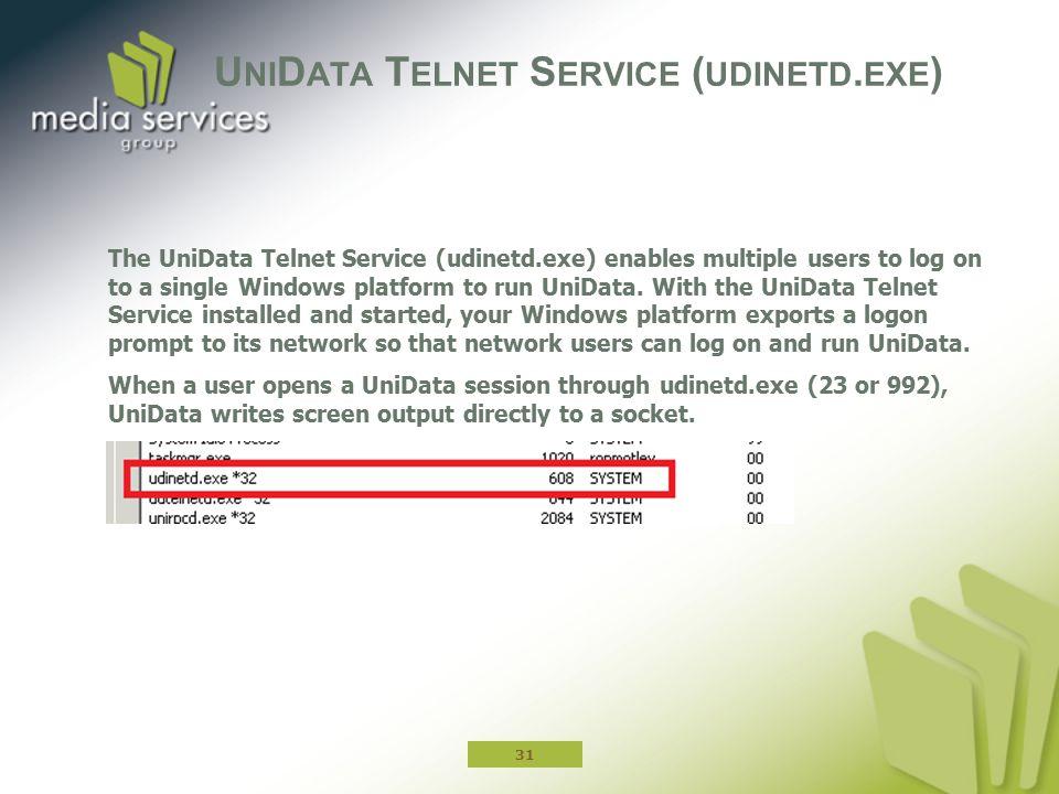 UniData Telnet Service (udinetd.exe)