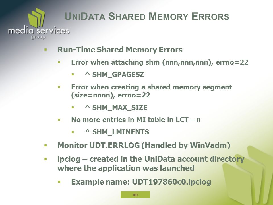 UniData Shared Memory Errors
