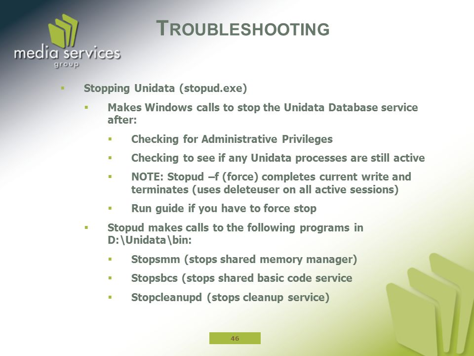 Troubleshooting Stopping Unidata (stopud.exe)