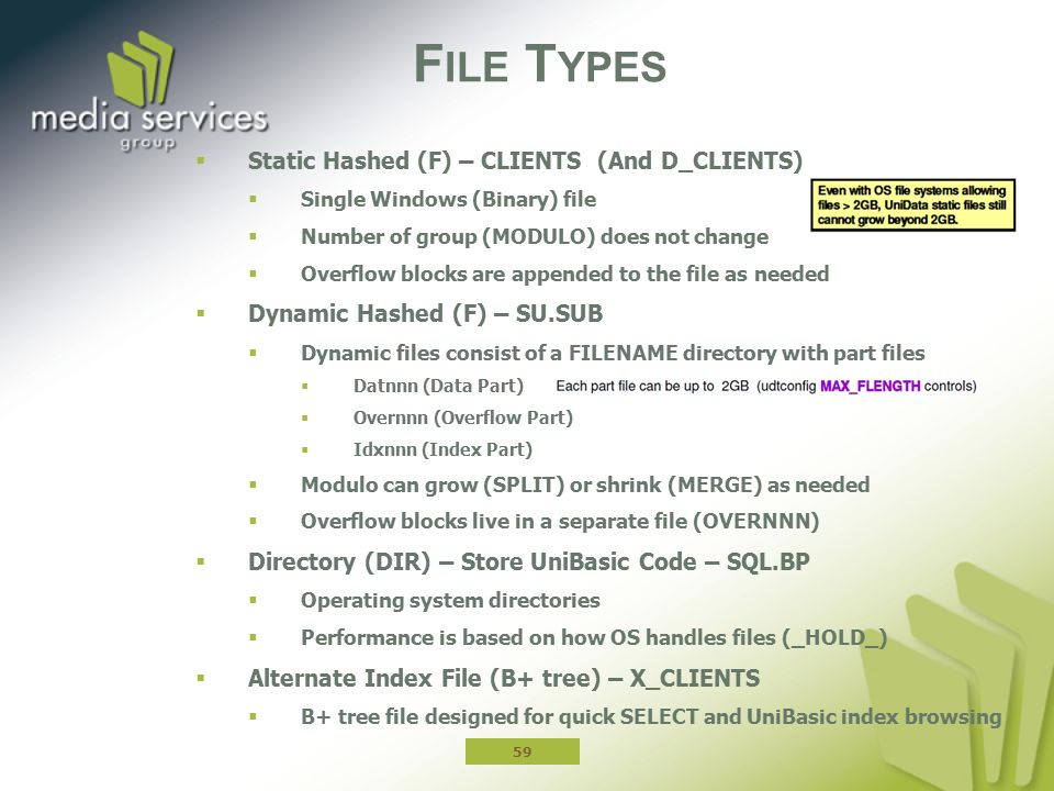 File Types Static Hashed (F) – CLIENTS (And D_CLIENTS)