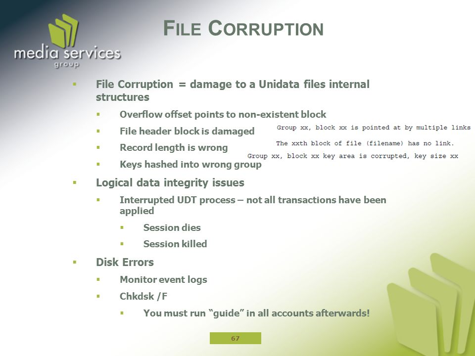 File Corruption File Corruption = damage to a Unidata files internal structures. Overflow offset points to non-existent block.