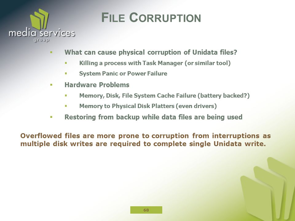 File Corruption What can cause physical corruption of Unidata files