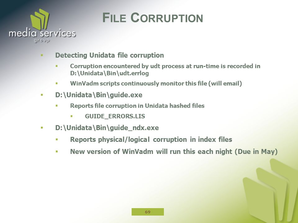 File Corruption Detecting Unidata file corruption