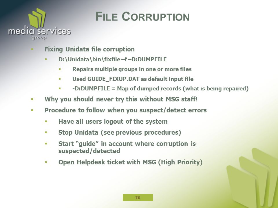 File Corruption Fixing Unidata file corruption