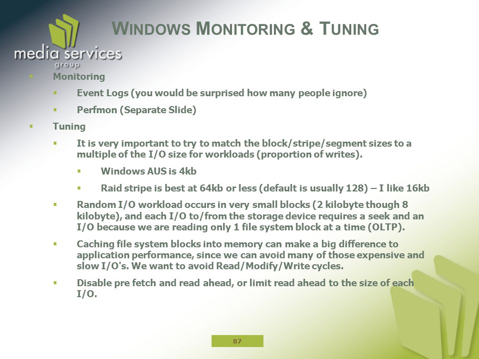 Windows Monitoring & Tuning