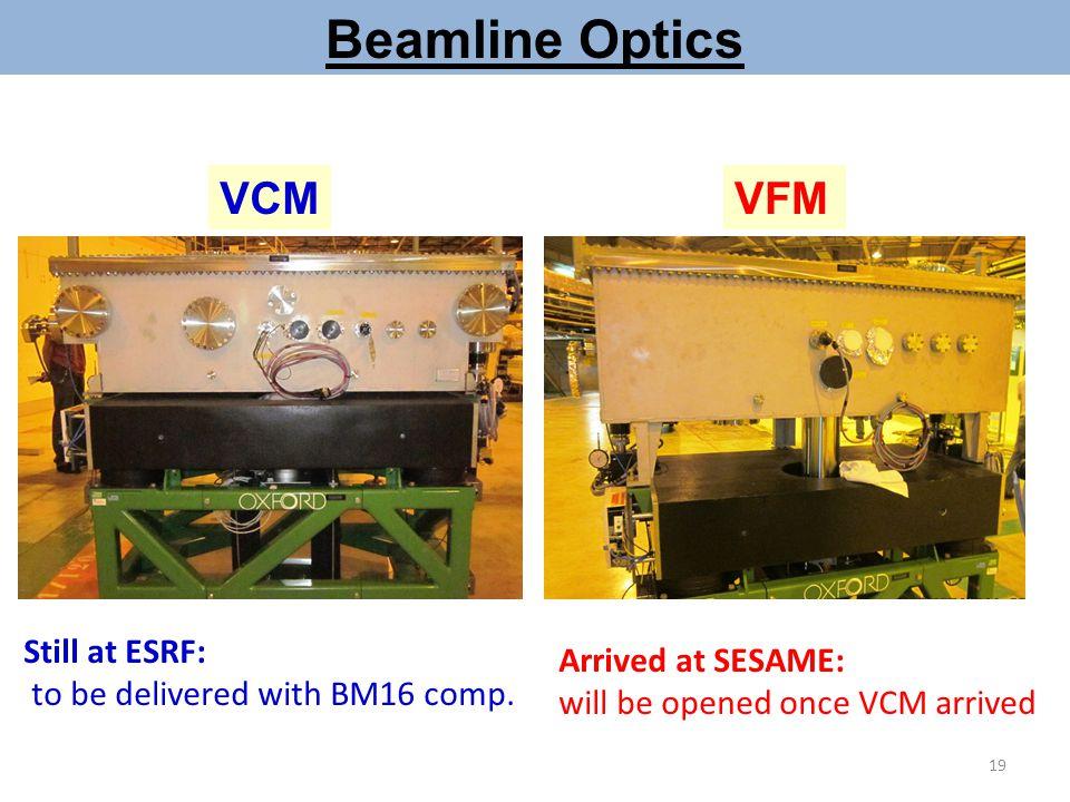 Beamline Optics VCM VFM Still at ESRF: Arrived at SESAME: