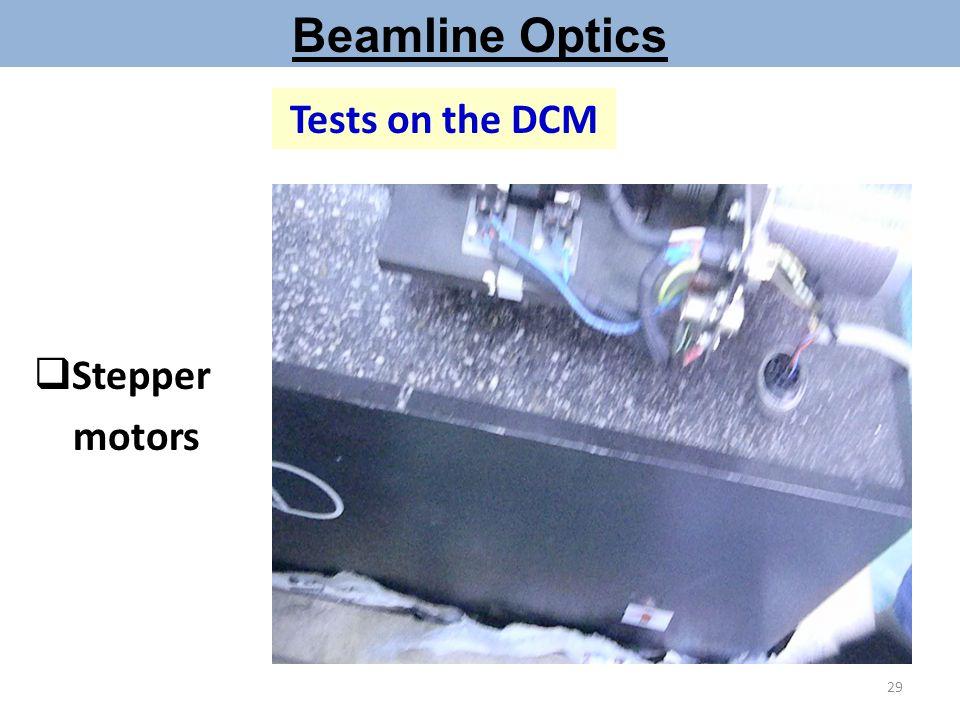 Beamline Optics Tests on the DCM Stepper motors