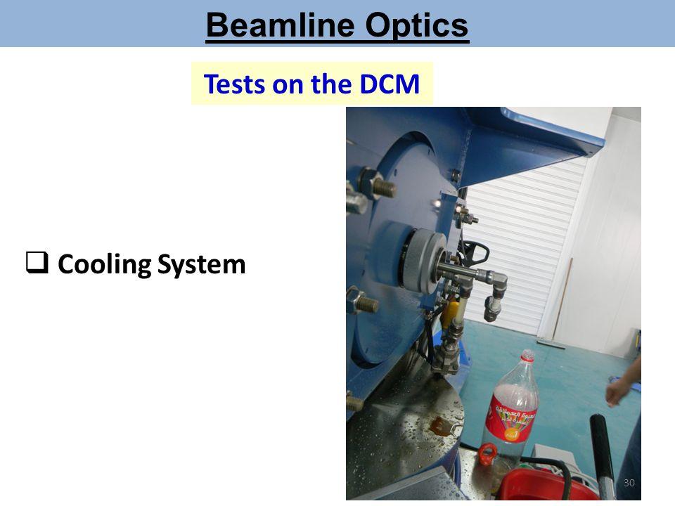 Beamline Optics Tests on the DCM Cooling System