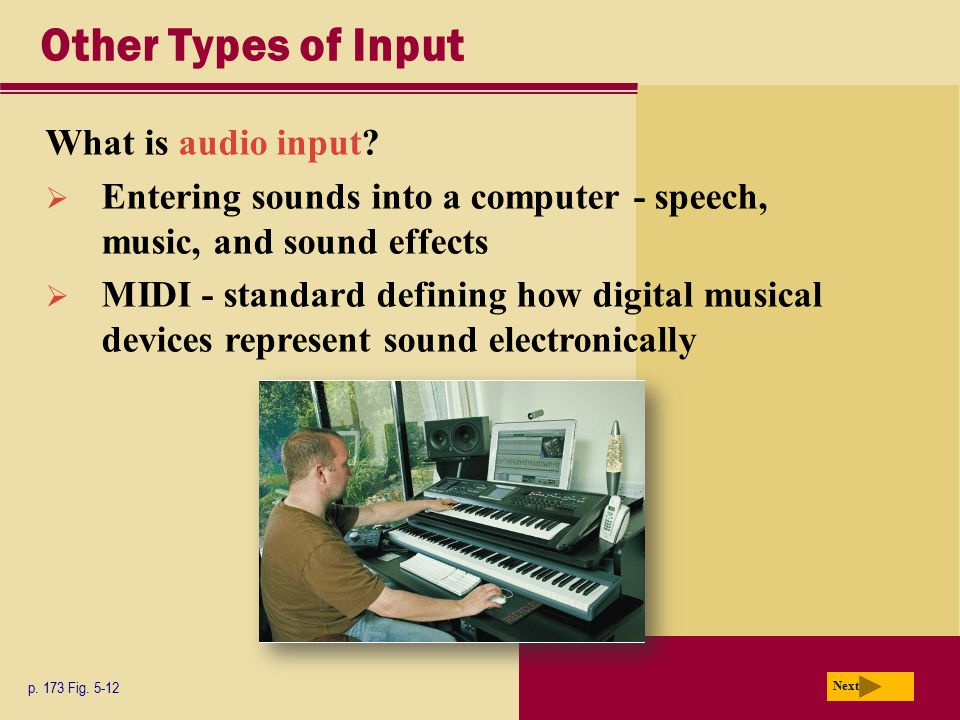 Other Types of Input What is audio input