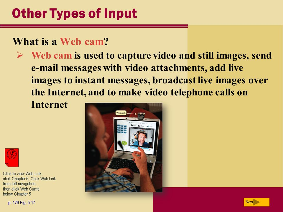 Other Types of Input What is a Web cam