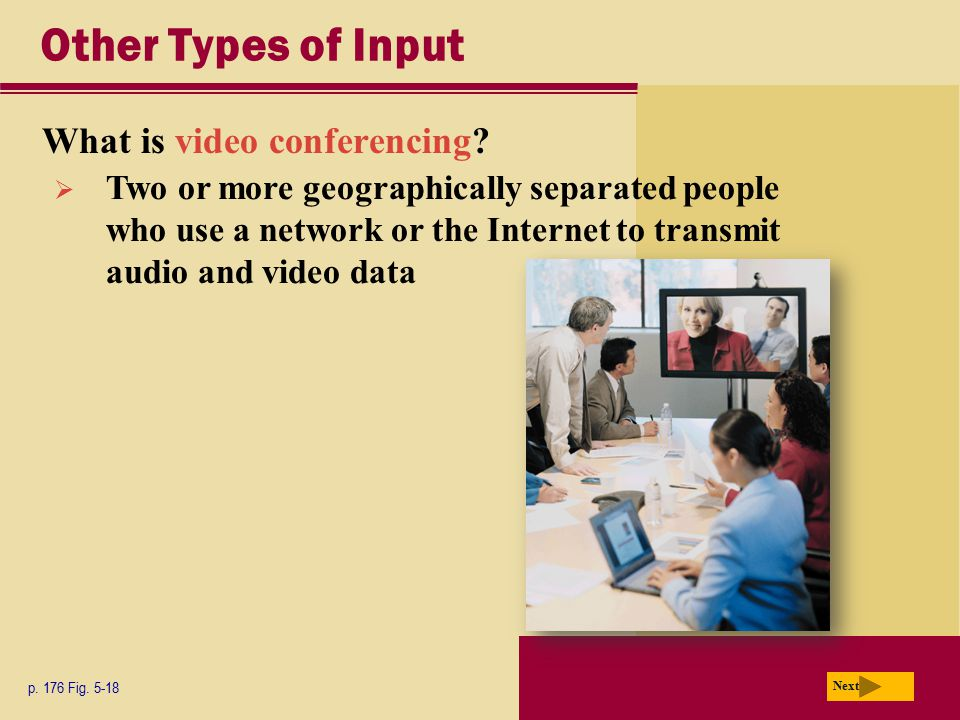 Other Types of Input What is video conferencing