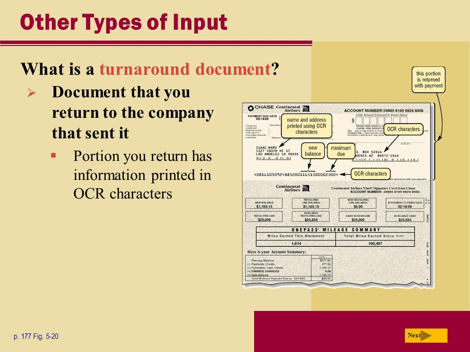 Other Types of Input What is a turnaround document
