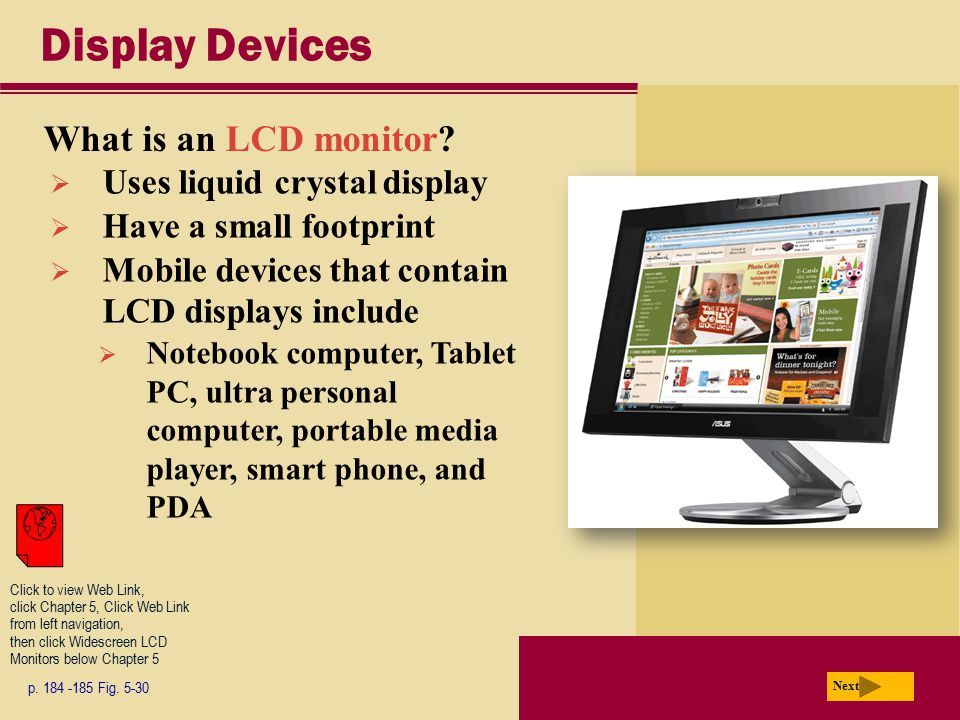 Display Devices What is an LCD monitor Uses liquid crystal display