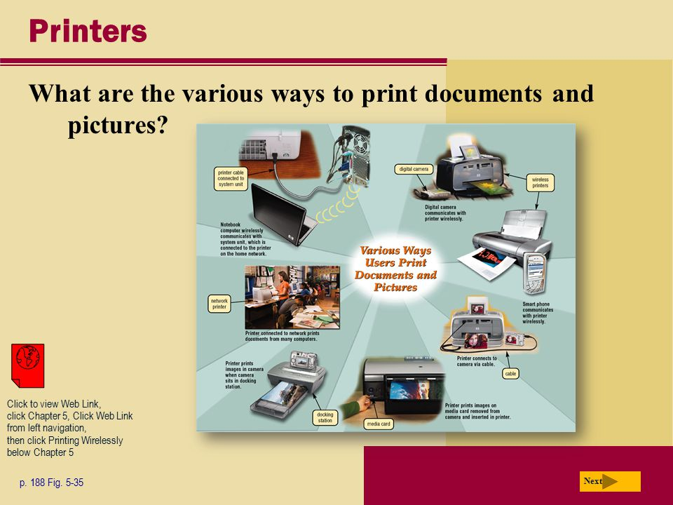 Printers What are the various ways to print documents and pictures