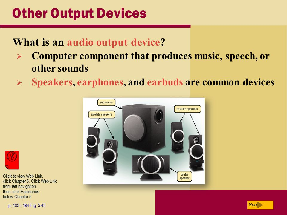 Other Output Devices What is an audio output device
