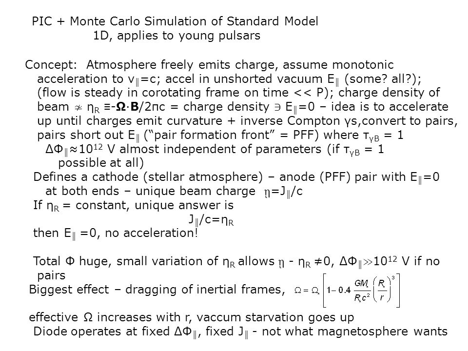PIC + Monte Carlo Simulation of Standard Model