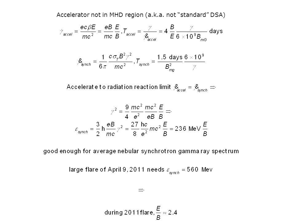 Accelerator not in MHD region (a.k.a. not standard DSA)