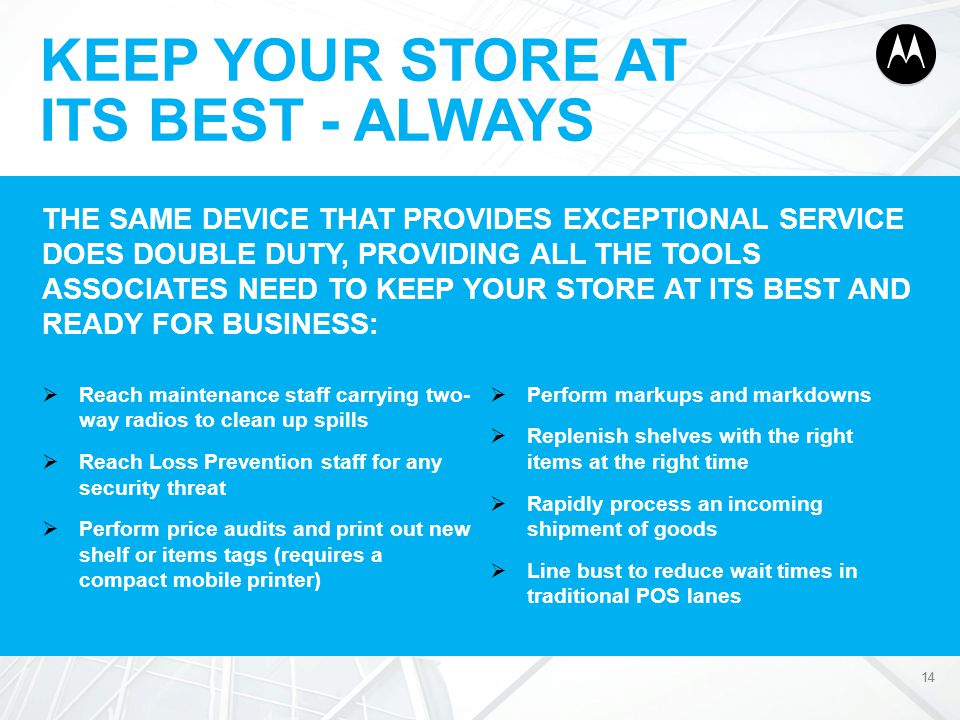 KEEP YOUR STORE AT ITS BEST - ALWAYS