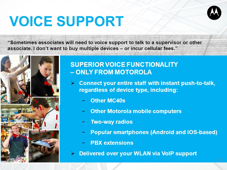 VOICE SUPPORT SUPERIOR VOICE FUNCTIONALITY – ONLY FROM MOTOROLA