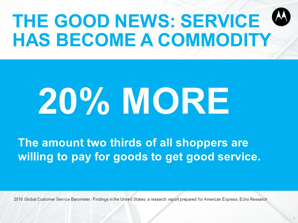 THE GOOD NEWS: SERVICE HAS BECOME A COMMODITY