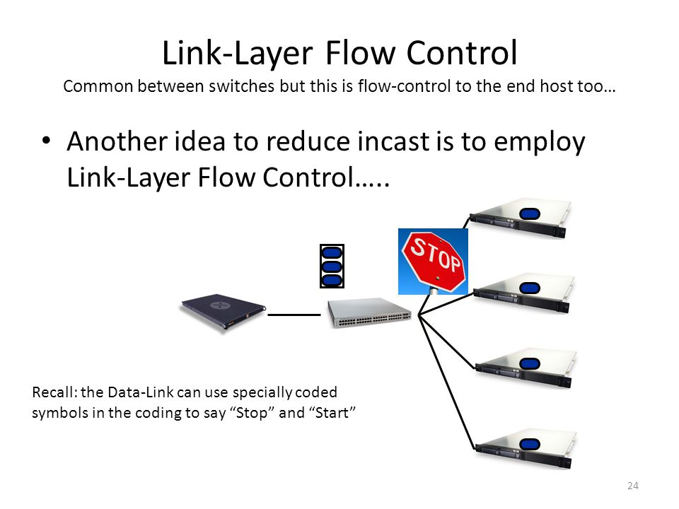 Link-Layer Flow Control Common between switches but this is flow-control to the end host too…