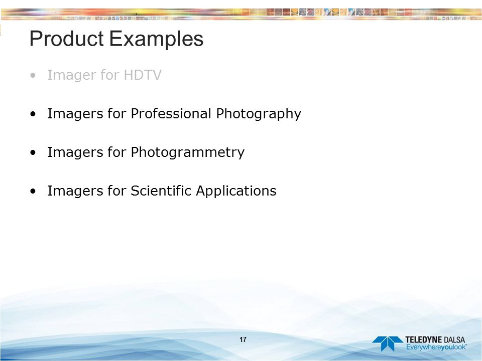 Product Examples Imager for HDTV Imagers for Professional Photography