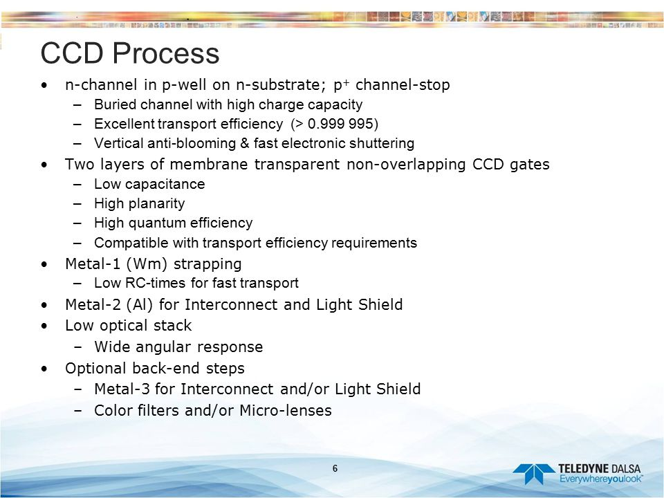 CCD Process n-channel in p-well on n-substrate; p+ channel-stop