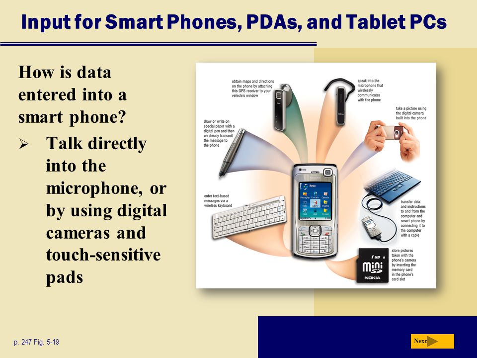 Input for Smart Phones, PDAs, and Tablet PCs
