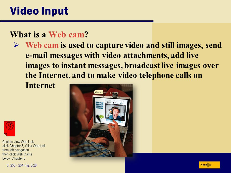 Video Input What is a Web cam