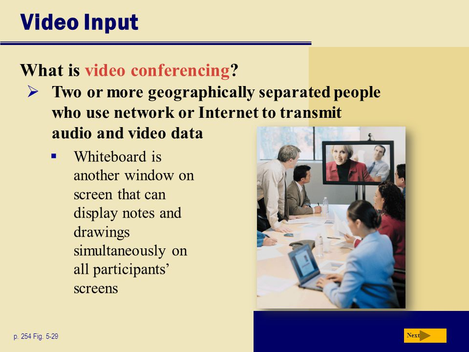 Video Input What is video conferencing